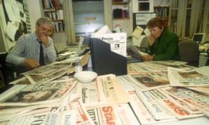 Humphrys with fellow today presenter Sue MacGregor in the programme's production office, 1993.