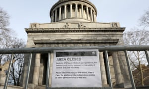 A closed sign is seen on a fence at the General Grant National Memorial in New York.