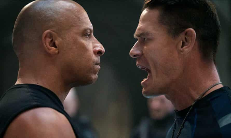 All very macho and silly … Vin Diesel and John Cena as Dominic and Jakob Toretto.