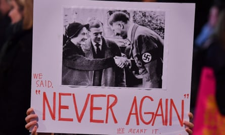 A placard at the demonstration at Downing Street in January