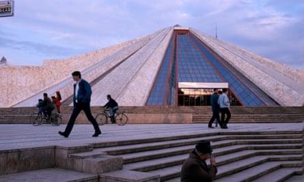 The Enver Hoxha memorial museum memorial in tirana ironically called the pyramid 1997