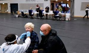 Covid testing in the Arena Nord in Frederikshavn, in Northern Jutland, Denmark.