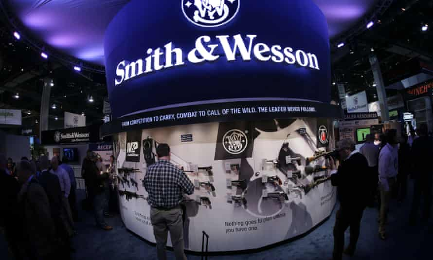Smith & Wesson shares have soared following Obama's speech.
