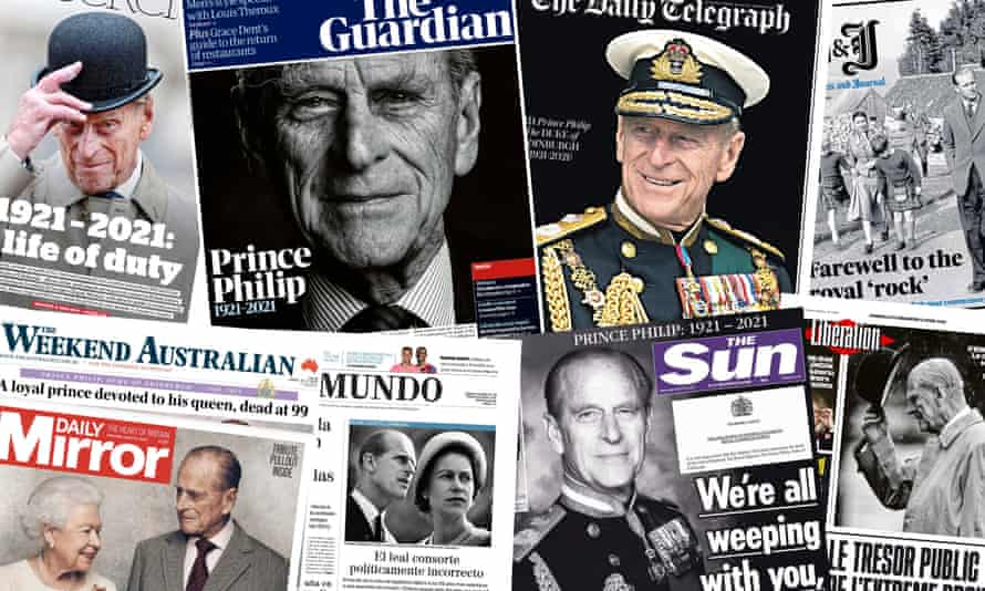 Front pages from around the world report on the death of Prince Philip.