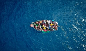A boat carrying migrants stranded in the strait of Gibraltar.