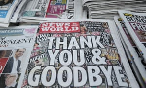 The final edition of the News of the World, which closed in July 2011 over phone hacking.