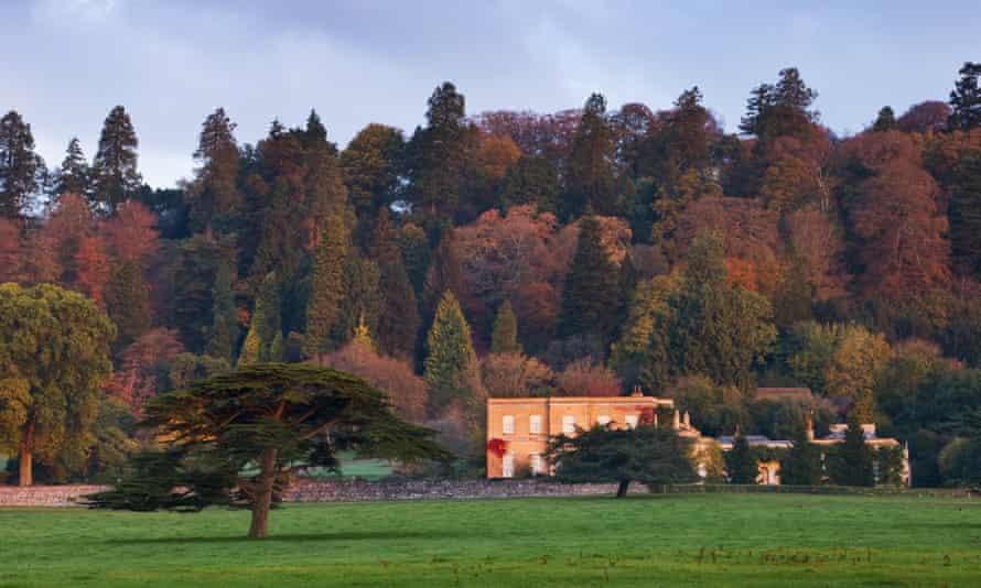 Rolling gardens surrounding the elegant house at Killerton, Devon.