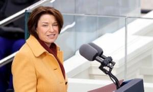 Sen. Amy Klobuchar speaking during the inauguration of Joe Biden.