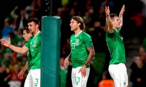 James Collins celebrates scoring his first and Ireland's third goal in their 3-1 win against Bulgaria.