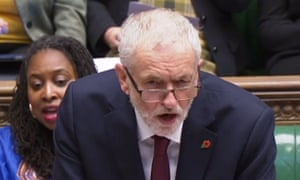 Jeremy Corbyn addresses Theresa May in the House of Commons on 31 October.