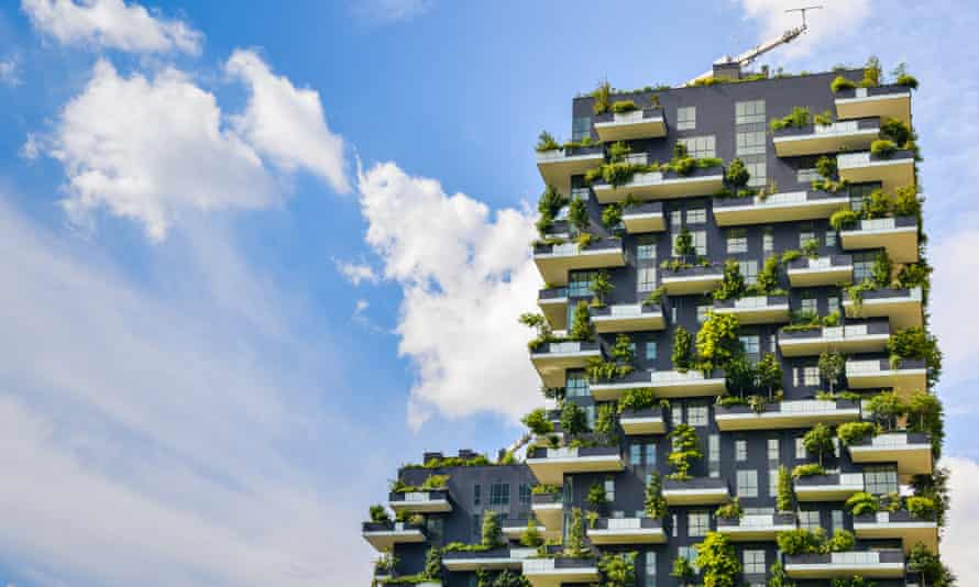 Milan's Bosco Verticale (Vertical Forests) are two towers housing trees that help to mitigate smog and produce oxygen in one of Europe's most polluted cities.