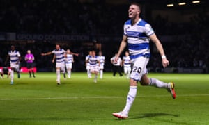 """Queens Park Rangers v Everton, Carabao Cup, Third Round, Football, Kiyan Prince Foundation Stadium, London, UK - 21 Sep 2021<br>EDITORIAL USE ONLY No use with unauthorised audio, video, data, fixture lists, club/league logos or """"live"""" services. Online in-match use limited to 120 images, no video emulation. No use in betting, games or single club/league/player publications. Mandatory Credit: Photo by Andrew Fosker/REX/Shutterstock (12455242iv) Jimmy Dunne of QPR   scores a goal with  his penalty in the shoot to win the match & celebrates Queens Park Rangers v Everton, Carabao Cup, Third Round, Football, Kiyan Prince Foundation Stadium, London, UK - 21 Sep 2021"""