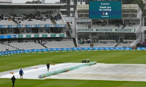 General view of Lord's as play is abandoned for the day due to the heavy rain.