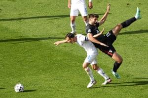 Croatia's Bruno Petkovic, right, and Czech Republic's Vladimir Darida challenge for the ball.