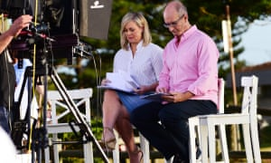 Samantha Armytage and David Koch on set during a Sunrise filming.