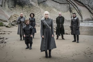 Conleth Hill as Varys, Peter Dinklage as Tyrion Lannister, Nathalie Emmanuel as Missandei, Emilia Clarke as Daenerys Targaryen, Liam Cunningham as Davos Seaworth and Kit Harington as Jon Snow.