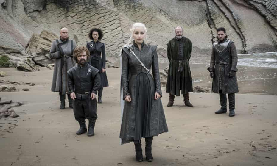 A still from Game Of Thrones series seven: Conleth Hill as Varys, Peter Dinklage as Tyrion Lannister, Nathalie Emmanuel as Missandei, Emilia Clarke as Daenerys Targaryen. Liam Cunningham as Davos Seaworth and Kit Harington as Jon Snow.