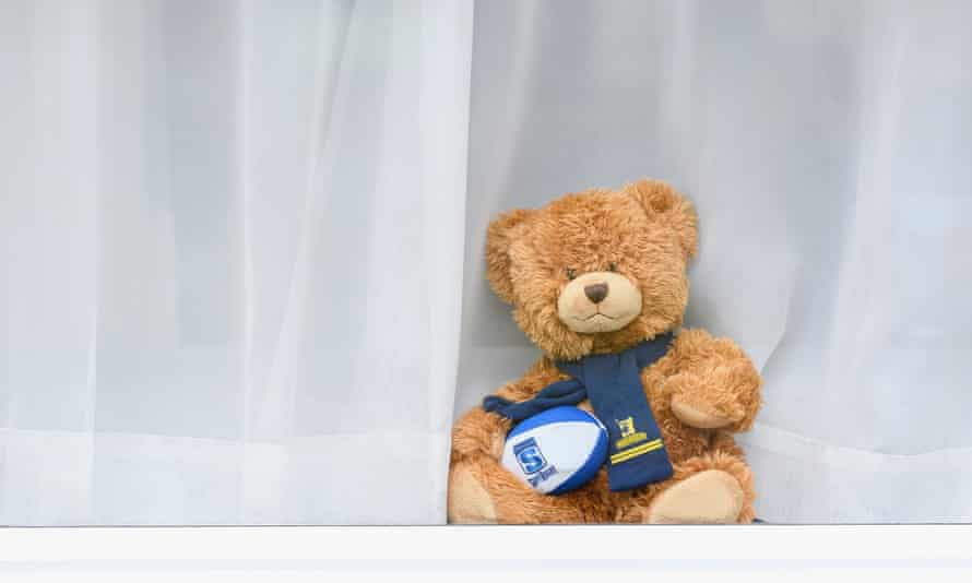 Just one of the teddy bears placed in windows across New Zealand to keep children occupied during the coronavirus lockdown.