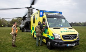 An RAF Chinook helicopter landing by an ambulance near St Mary's Hospital, on the Isle of Wight, last April to test methods of patient transfer to the mainland.