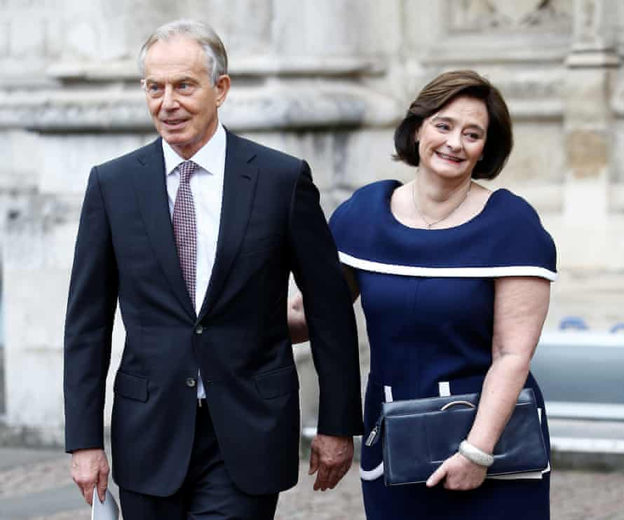 Former Prime Minister Tony Blair and his wife, Cherie Blair