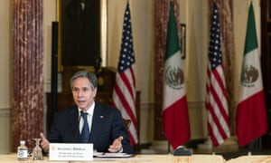 Secretary of State Antony Blinken, speaks in the Benjamin Franklin room at the State Department in Washington, DC, during a virtual meeting with Mexican Foreign Secretary Marcelo Ebrard, who is in Mexico City, Friday, Feb. 26, 2021.