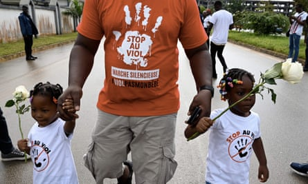 A silent march on in Abidjan, Ivory Coast, to denounce the rape of girls in the country