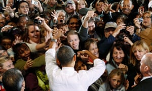 Supporters react as they meet Obama at a campaign rally in Charlottesville, Virginia, in 2010.
