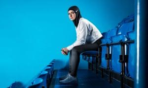 Figure skater Zahra Lari model wears Nike's new hijab.