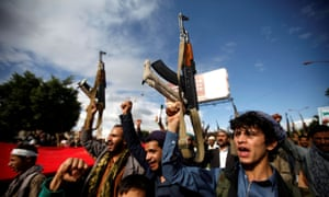 Supporters of the Houthi movement take part in a protest in Sana'a.