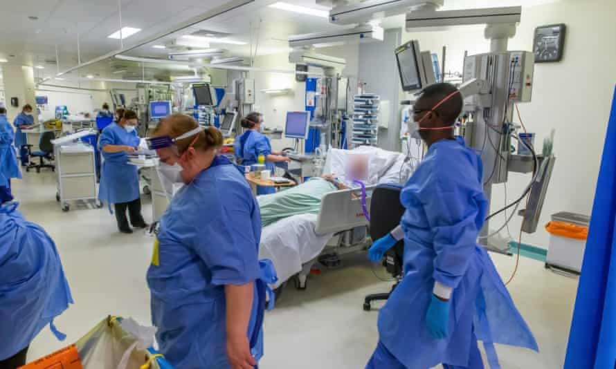 Medics in an intensive care unit in Coventry in December.