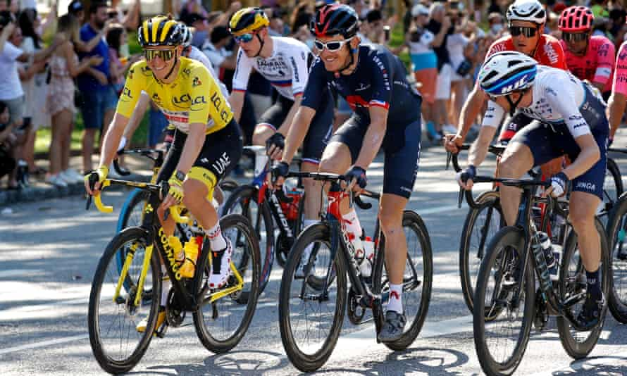 Tadej Pogacar of Slovenia (left) and Geraint Thomas (centre) at the Tour de France this year