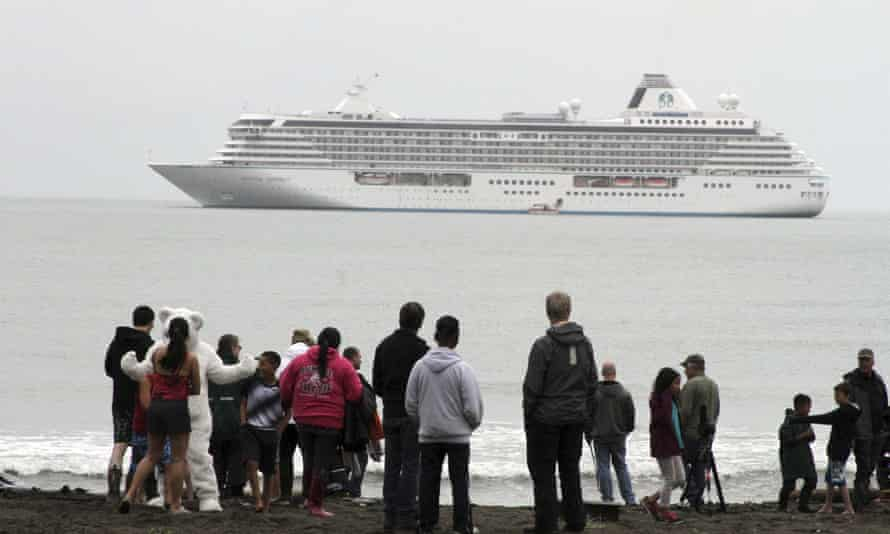 The Crystal Serenity with 1,000 passengers on board rides at anchor just outside Nome, Alaska.