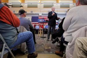 "Joe Biden speaks during a stop on his ""No Malarkey!"" campaign in Algona, Iowa."
