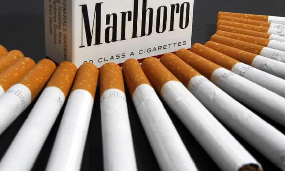 Marlboro packet and cigarettes arranged in a fan
