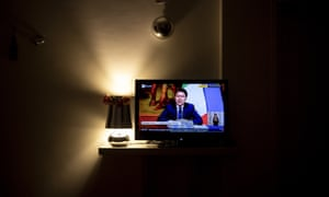 Italian Prime Minister Giuseppe Conte announces on a TV live broadcast relaxed new measures starting from May 4th to overcome the national lockdown on April 26, 2020 in Rome, Italy.