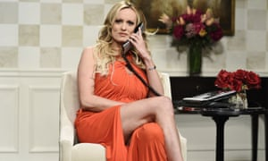 Stormy Daniels appears on Saturday Night Live in New York, in May.
