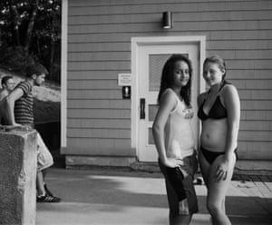 Girls posing by the bath house, July 2010