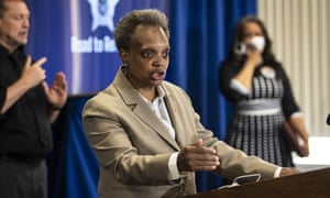 Chicago mayor Lori Lightfoot at a press conference last month.
