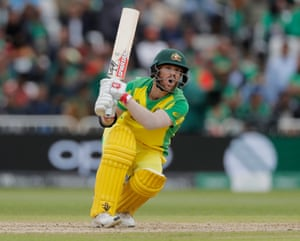 Australia's David Warner bats against Bangladesh at Trent Bridge.