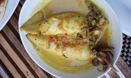 Sri Lankan squid stuffed with potato