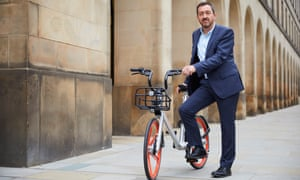 Chris Boardman, newly appointed as Greater Manchester's first cycling and walking commissioner, in St Peter's Square, Manchester.