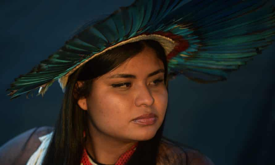 An indigenous woman from the Krenak tribe takes part in a demonstration in Brasília.