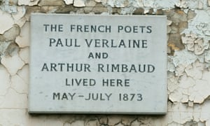 A plaque outside a house in Royal College Street, Camden, London, once occupied by Arthur Rimbaud and Paul Verlaine