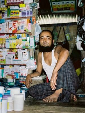 A man sells medical supplies at a market