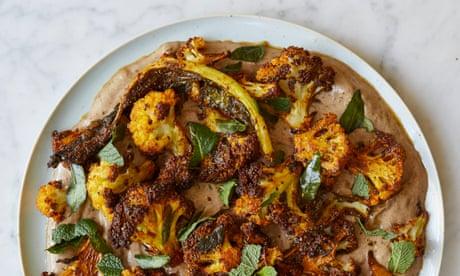 Nik Sharma's recipes for lentil-stuffed onions and cauliflower with black garlic yoghurt
