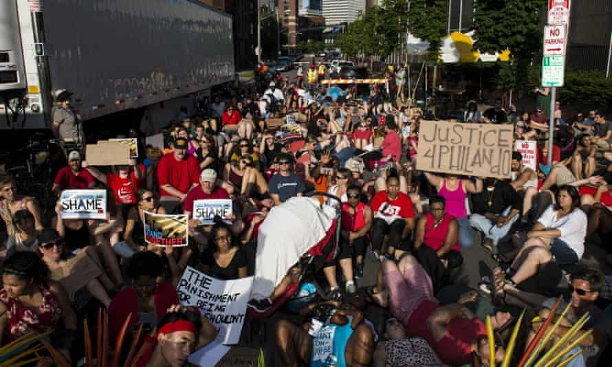 Activists protest on Friday in downtown Minneapolis, Minnesota, against the death of Philando Castile.