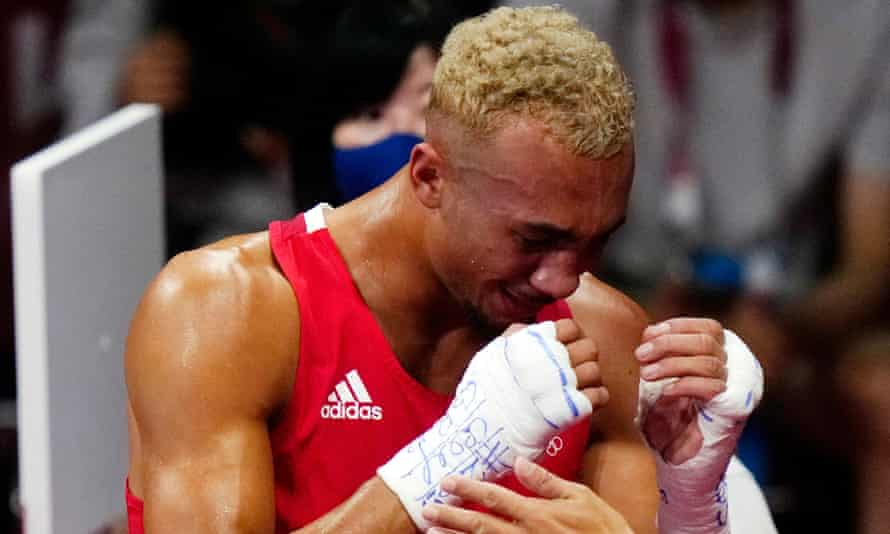 Ben Whittaker reacts tearfully after losing his light-heavyweight final