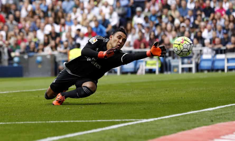 Real Madrid's Keylor Navas in action against Levante.