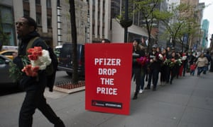 Médicines Sans Frontières protesters take a petition to Pfizers, New York, on 27 April, demanding cheaper pneumonia vaccines.