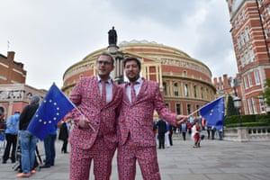 Promenaders assemble outside the Royal Albert Hall